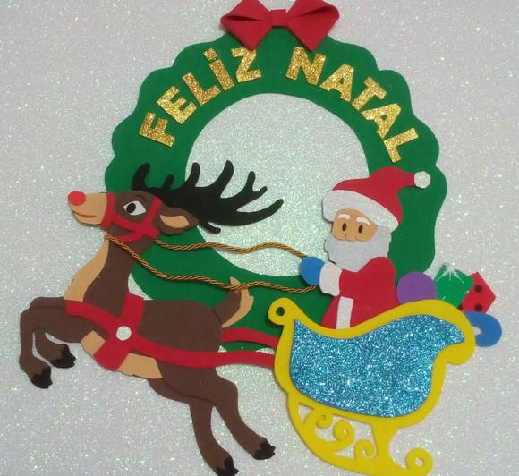 Guirlanda de Natal em EVA Papai Noel no Elo7 Criações da Deia (D8BC50) # Decoração Em Eva Natal