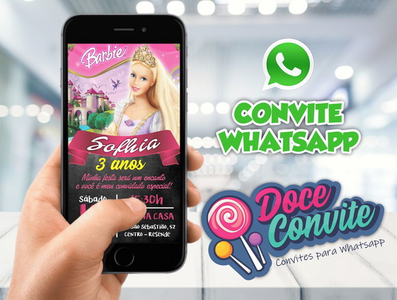 CONVITE WHATSAPP BARBIE