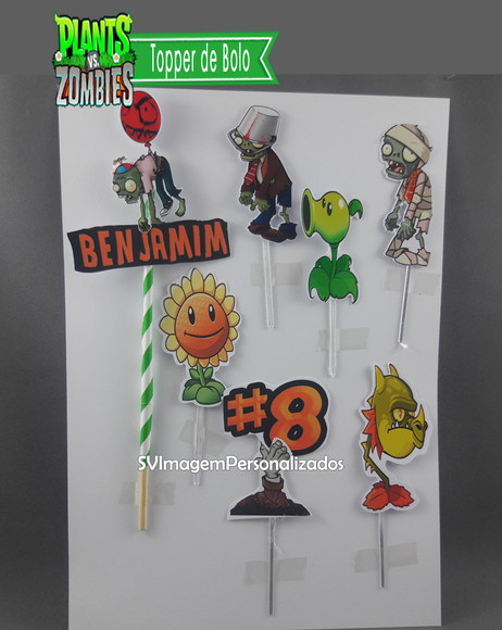Plants vs Zombies Topper de Bolo
