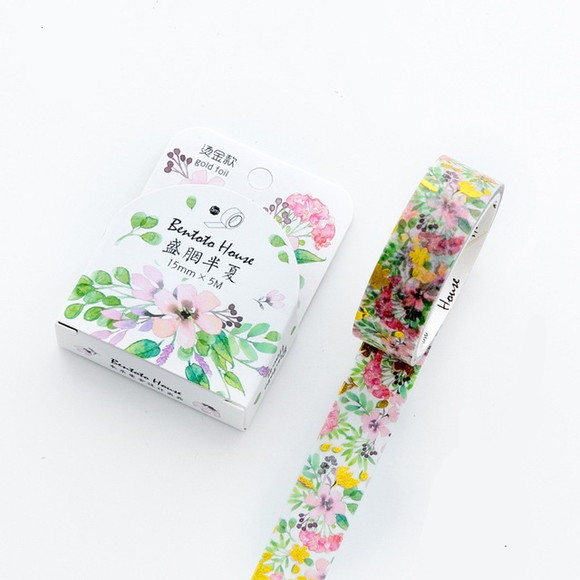 Washi Tape - Flores Coloridas com Foil