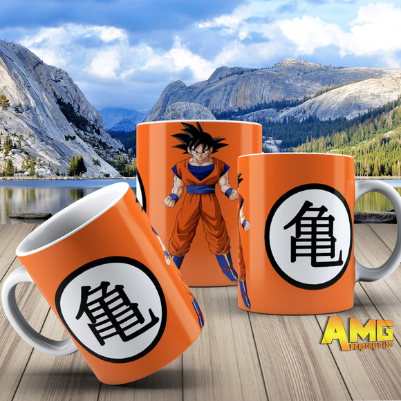 Caneca Dragon Ball Z Goku Kanji Kame Laranja Dragon Ball Z