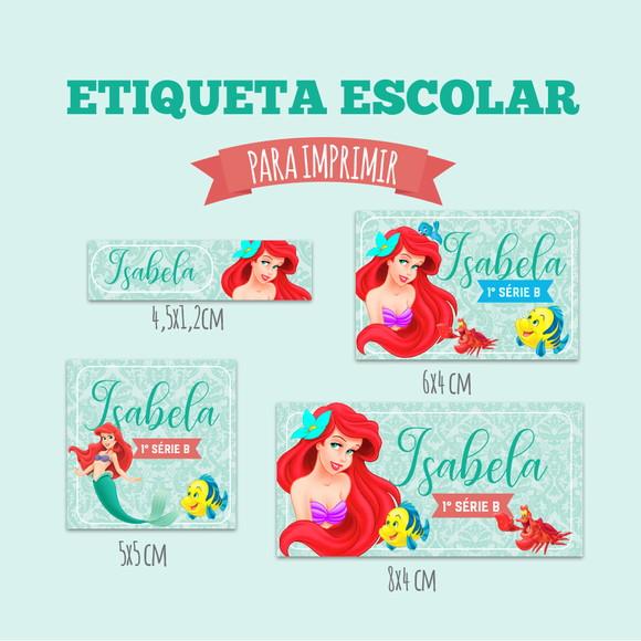 Etiqueta Escolar Pequena Sereia Para Imprimir Elo7