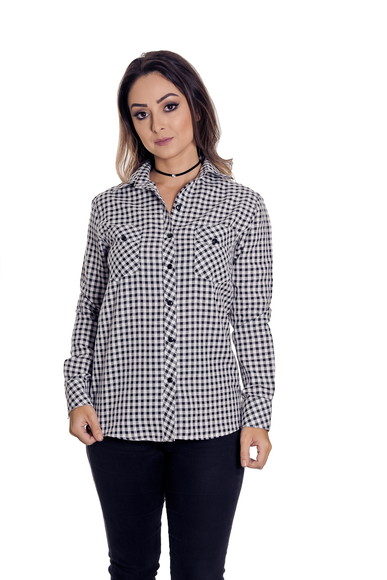 Camisao Xadrez Feminina Francesca Pimenta Rosada  6d57212de2d21