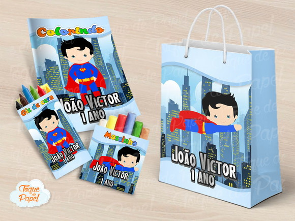 Kit colorir giz massinha e sacola Super Man Cute