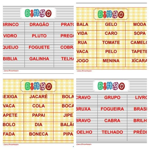 Bingo De Palavras Alfabetizacao Elo7