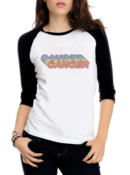Baby Look Raglan Cancer Signos Tumblr Tres Quartos