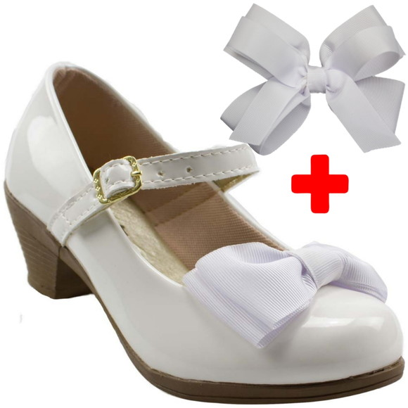 6881c11db0 Sapatilha Infantil Feminina Salto Branca Laco Sapato Crianca
