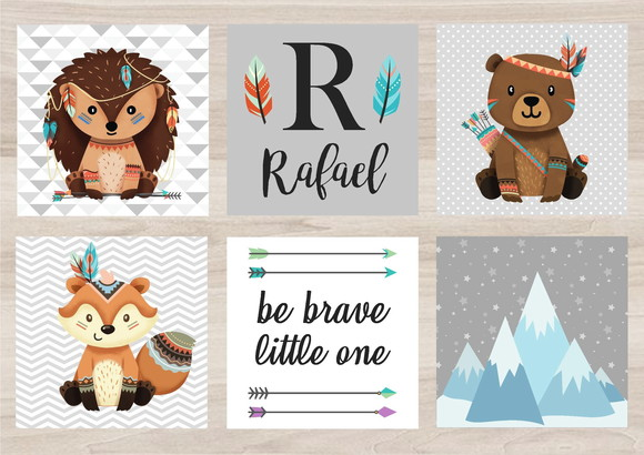 Kit Quadro Infantil - Bichinhos Tribal Be Brave