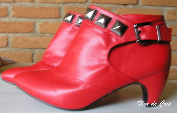 FRETE GRÁTIS Red Ankle Boots