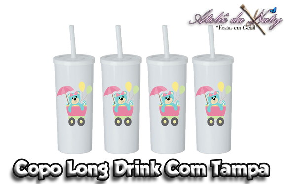 Copo Long Drink Com Tampa - Baby