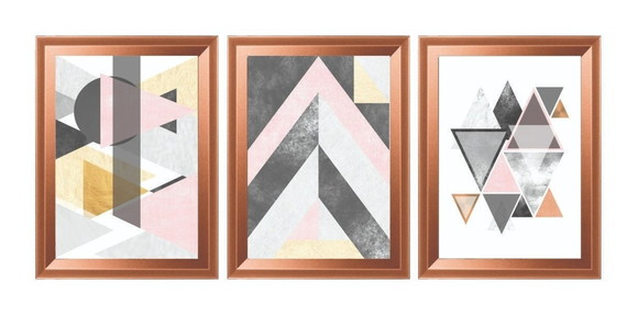Quadro Decorativo Abstrato Tons Rose Moldura Rose Gold