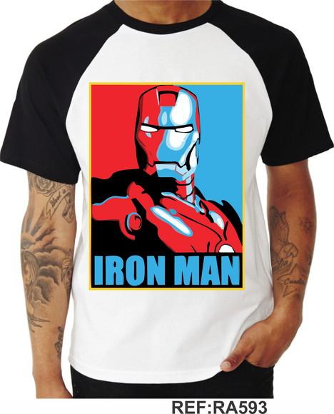 Camiseta Iron Man Homem De Ferro Vingadores Raglan
