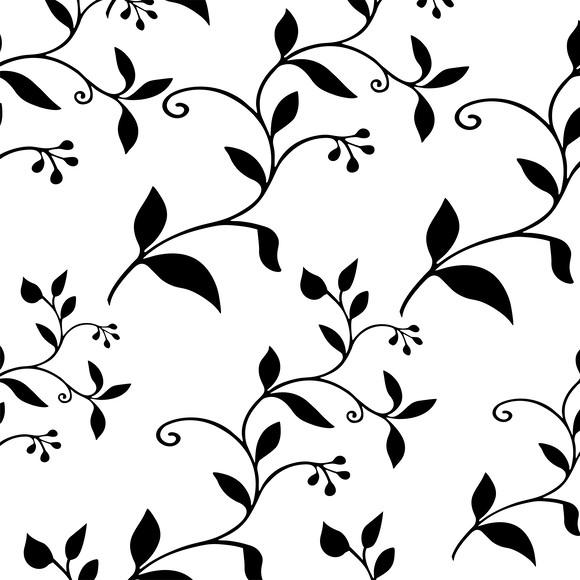 Papel De Parede Floral Ramos Desenho Preto Fundo Branco Elo7