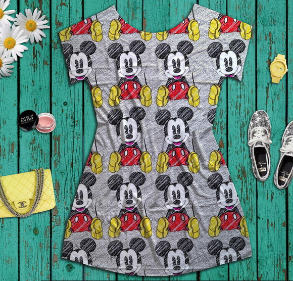 Dress Shirt feminina estampa Mickey