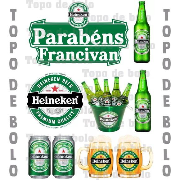 Topo De Bolo Digital Cerveja Heineken Para Imprimir Elo7