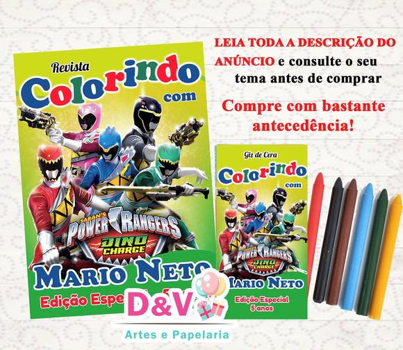 Revistinha De Colorir Power Rangers Dino Charge Elo7
