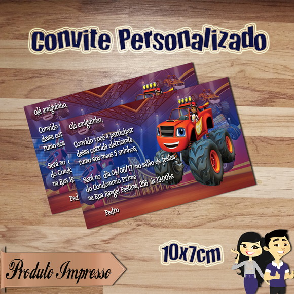 Convite Blaze and the Monster Machines Personalizado