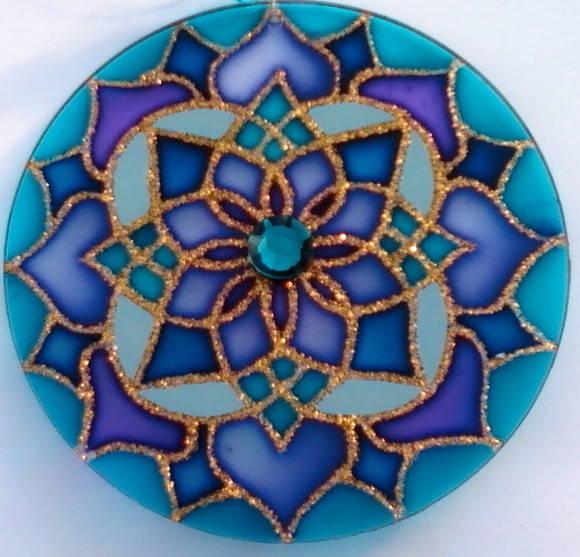 Mandala azul mandalas em vitral elo7 for Cuadros mandalas feng shui decoracion mandalas