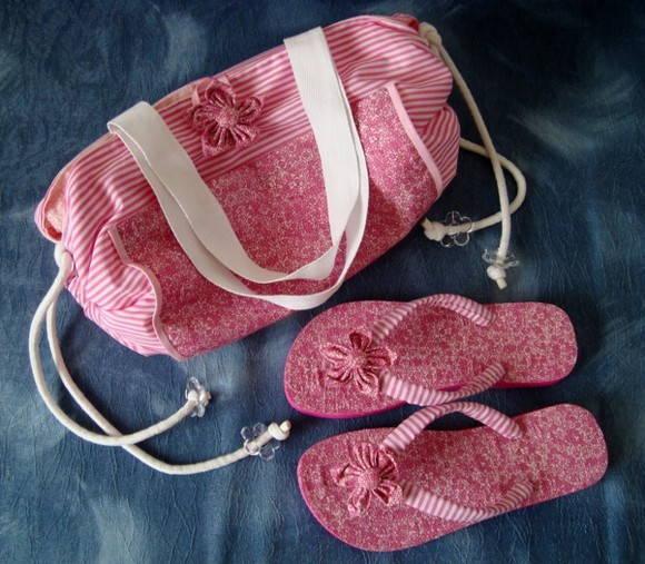 Bolsa toalha e chinelos praia piscina handicraft elo7 for Bolsa piscina