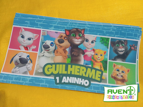 Rótulo para cofrinho Talking tom -Talking Friends