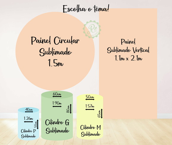 Kit Painel circular + vertical + cilindros sublimados