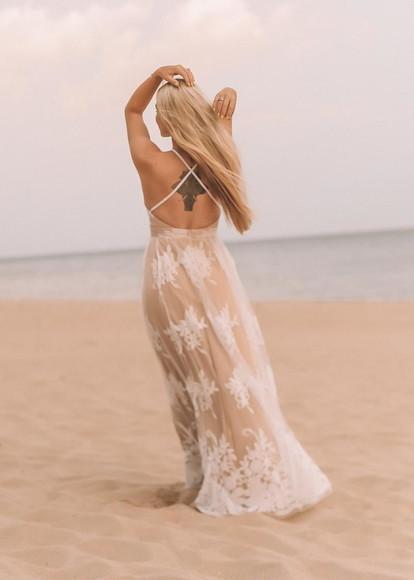 Vestido Noiva Boho Chic Tule Bordado Praia Ensaio Wedding