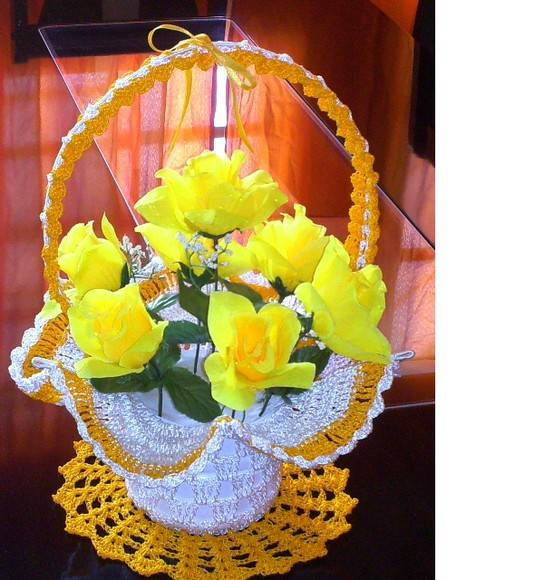 Adesivo De Alto Desempenho Para Argamassas ~ Cesta de Croch u00ea com Flores meire oscar artes e artesanato Elo7