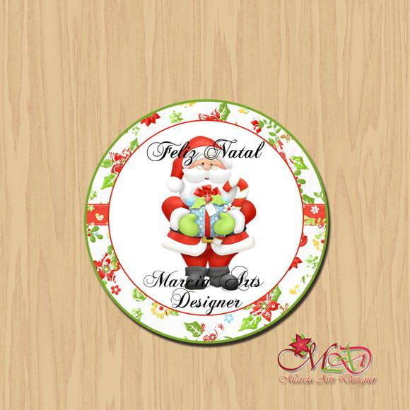 Artesanato Alentejo ~ Adesivo para latinha Natal Marcia Arts Designer Elo7