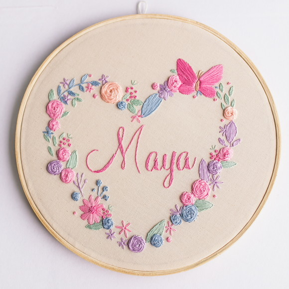 Porta maternidade bordado - flores Maya