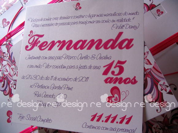 Convite Para 15 Anos No Elo7 Re Design Convites Personalizados