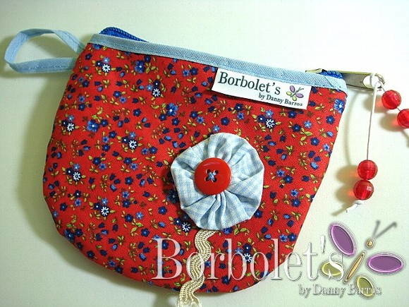 POrta moedas - Red blue floral