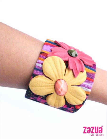 P1238 - Pulseira Floral Color Block