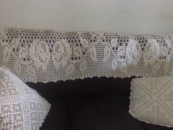 Manta para sof de croch crochet fashion elo7 for Mantas para sofas