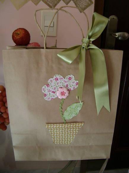 Sacola decorada costura com arte elo7 - Como decorar bolsas de papel ...