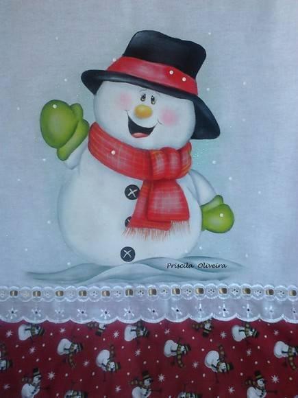 Patchwork de natal boneco de neve feito