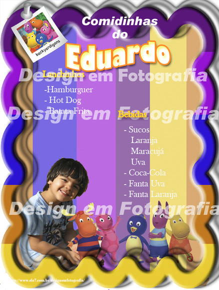 Cardápio / Menu Backyardigans digital