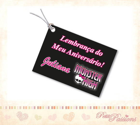Tag Personalizado - Monster High Preto