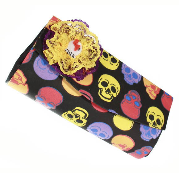Lollipop Clutch caveiras com broche