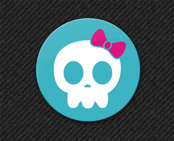 Botton Blue Skull Girl