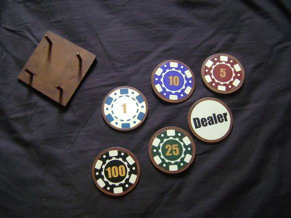 Porta Copos Poker Chips MDF