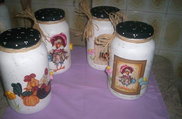 Potes de Vidros decorados no Elo7 Atelier Doce Encanto (1FA881) -> Decoracao Com Tampa De Vidro