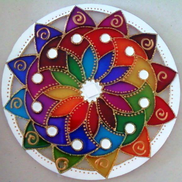 Mandala dan a das cores no elo7 mandalas em vitral 203805 - Platos decorativos modernos ...