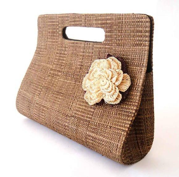 Bolsa De Mão R$ : Bolsa de m?o palha c flor croch? babel das artes elo