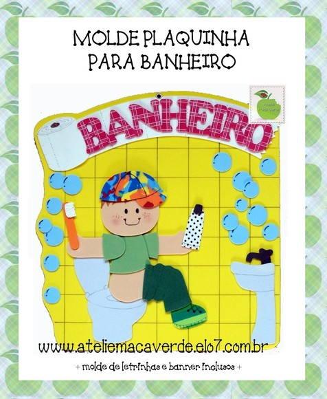 MOLDERISCO PLAQUINHA BANHEIRO  Ateliê Maçã Verde  Elo7 -> Decoracao Para Banheiro De Escola Em Eva