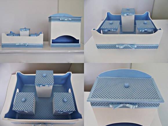 KIT HIGIENE COM TECIDO no Elo7 Sonho de Beb u00ea Enxovais (20FF1F) -> Como Decorar Kit Higiene Bebe Com Tecido