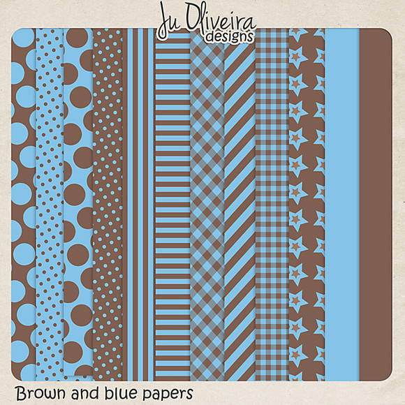 Brown and blue papers