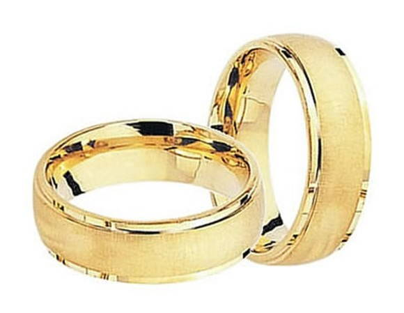 fbe71c3b12502 Par de Alianca em Ouro Amarelo Fosco   Elo7