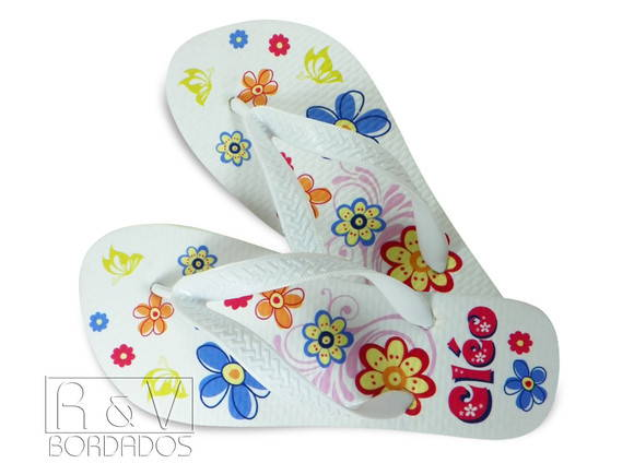 Chinelo Personalizada Flores
