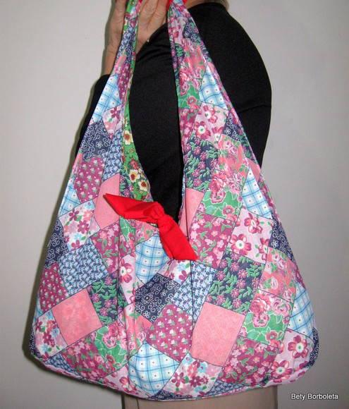 Bolsa De Tecido Quiltada : Bolsa de tecido estampada dupla face bety butterfly elo