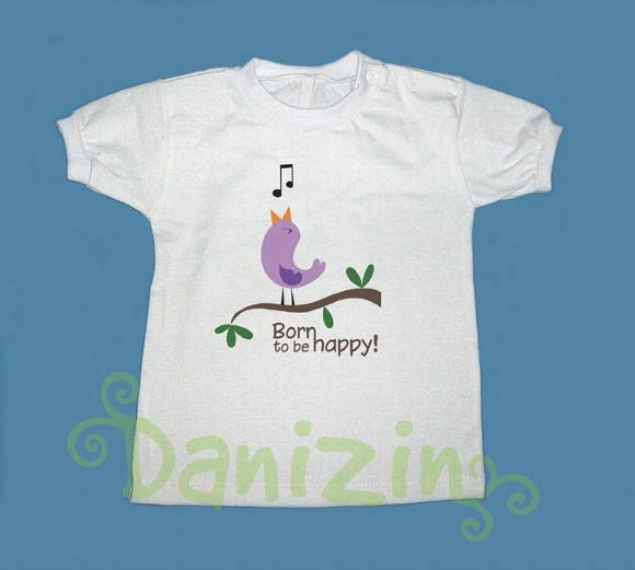 T-Shirt Bebê e Infantil BORN TO BE HAPPY